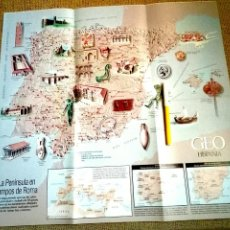 Mapas contemporáneos: MAPA LA PENÍNSULA EN TIEMPOS DE ROMA. GEO HISPANIA.. Lote 96030554