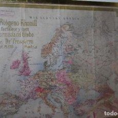 Mapas contemporáneos: MAPA DE EUROPA - RELIEVE - PUBLICIDAD DE BIÓGENO KHONILL - FARMACIA DEL GLOBO - MADRID 1914. Lote 97382847