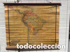 MAPA AMERICA DEL SUR, PRINCIPIOS S.XX. PAPEL SOBRE TELA CON BASTIDOR DE MADERA. WAGNER DEBES LIPZIG. (Coleccionismo - Mapas - Mapas actuales (desde siglo XIX))