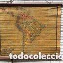 Mapas contemporáneos: MAPA AMERICA DEL SUR, PRINCIPIOS S.XX. PAPEL SOBRE TELA CON BASTIDOR DE MADERA. WAGNER DEBES LIPZIG.. Lote 97637699