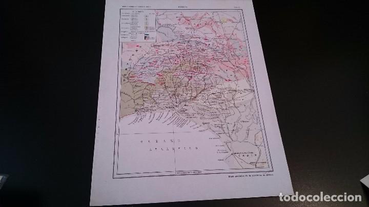 Mapas contemporáneos: LAMINA CROMOLITOGRAFICA ENCICLOPEDIA SEGUI 1905 MAPA HUELVA - DOBLE CARA - Foto 2 - 99234147