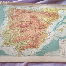 Mapas contemporáneos: ANTIGUO MAPA LITOGRAFIA AÑOS 30 / 40 LIT. FERNANDEZ GONZALO CORDOBA ESPAÑA PENINSULA IBERICA FISICO. Lote 179331520