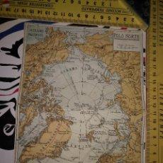 Mapas contemporáneos: LITOGRAFIA MAPA PLEGABLE ORIGINAL AÑOS 30 - POLO NORTE - OCEANO GLACIAR ARTICO. Lote 100685967