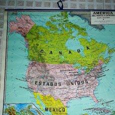 Mapas contemporáneos: MAPA DE ESCUELA DE AMERICA DEL NORTE Y CENTRO-100X86 -ENTELADO. Lote 102263783