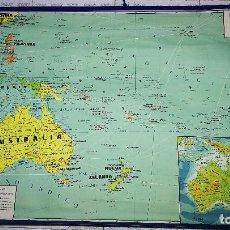 Mapas contemporáneos: MAPA DE ESCUELA OCEANIA-ENTELADO- 120X83 CM.. Lote 102266995