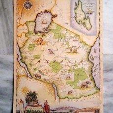 Mapas contemporáneos: RARO MAPA GRABADO E ILUSTRADO TANZANIA - BLUE RHINO 1998 NAIROBI KENYA. Lote 102398679