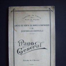 Mapas contemporáneos: CAMINOS DE HIERRO DEL NORTE DE ESPAÑA. LINEAS VENTA DE BAÑOS A SANTANDER Y QUINTANILLA BARRUELO 1913. Lote 102530547