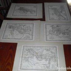 Mapas contemporáneos: 5 MAPAS TERRITORIOS Y CONTINENTES DE DE LA ANTIGUEDAD. Lote 102637231