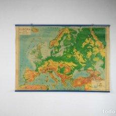 Mapas contemporáneos: MAPA ENTELADO ESCOLAR EUROPA FISICO VINTAGE SEIX BARRAL 60'S. Lote 102942983