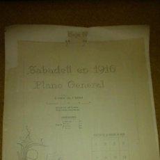 Mapas contemporáneos: SABADELL EN 1916 PLANO GENERAL, ESCALA DE 1/2000 , 16 HOJAS DE 70X95 CM. JOSEP RENOM ARQUITECTO. Lote 102954635