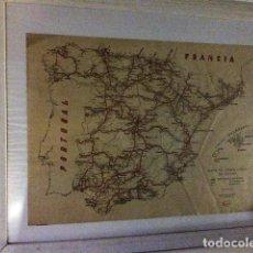Mapas contemporáneos: MAPA LINEAS FERROCARRIL ESPAÑA 1948. ENMARCADO.. Lote 102979699