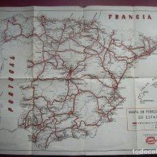Mapas contemporáneos: MAPA DE FERROCARRILES DE ESPAÑA - RENFE - SUPLEMENTO EN LOS DIETARIOS QUERFO. Lote 102984599