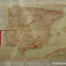 Mapas contemporáneos: MAPA ENTELADO DE ESPAÑA Y PORTUGAL. GOTHA. JUSTUS PERTES. 70 X 88 CM. Lote 103111535