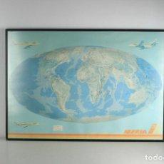 Mapas contemporáneos: MAPA MUNDI RUTAS IBERIA VINTAGE AÑOS 80. Lote 130667954