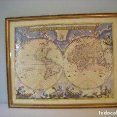 Mapas contemporáneos: MARAVILLOSO MAPA MUNDI ANTIGUO, ENMARCADO Y CON CRISTAL. Lote 103462559