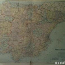 Mapas contemporáneos: MAPA DE ESPAÑA Y PORTUGAL A FINALES DEL SIGLO XIX EN GRAN TAMAÑO (75X55CM). Lote 105473831