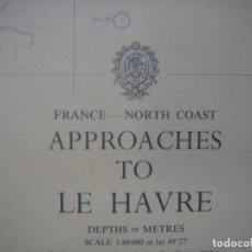 Mapas contemporáneos: CARTA NAÚTICA PUERTO DE LE HAVRE , FRANCIA, LONDRES, 1982,ALMIRANTAZGO BRITÁNICO. Lote 108432575