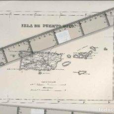 Mapas contemporâneos: ISLA DE PUERTO RICO, PLANO DEL AÑO 1865, MEDIDAS 33 X 23 ORIGINAL DE LA EPOCA. Lote 199089490