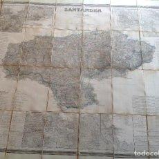 Mapas contemporáneos: SANTANDER AÑO 1861 * GRAN MAPA ENTELADO 112 CM X 83 CM * CON PLANOS INSERTOS * GRABADO AL ACERO. Lote 110100055