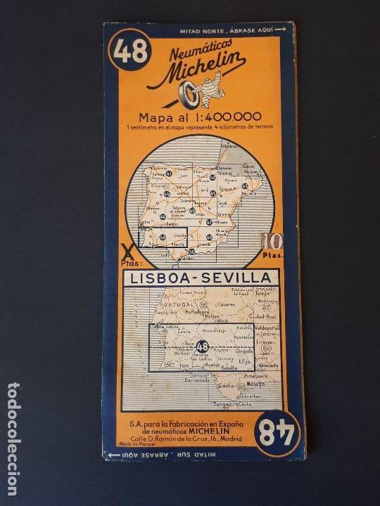 mapa michelin lisboa mapa michelin nº 48, lisboa  sevilla. años 50   Comprar Mapas  mapa michelin lisboa