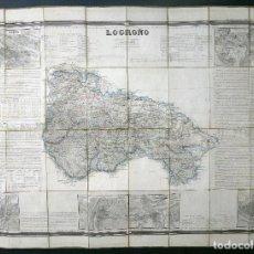 Mapas contemporáneos: MAPA LOGROÑO FRANCISCO COELLO Y MADOZ ATLAS ESPAÑA Y SUS POSESIONES ULTRAMAR 1850. Lote 112535591