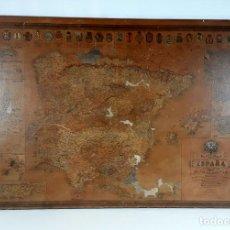 Mapas contemporáneos: MAPA DE ESPAÑA. IMPRESO SOBRE MADERA. PARIS. FINALES DEL S.XIX.. Lote 113138383