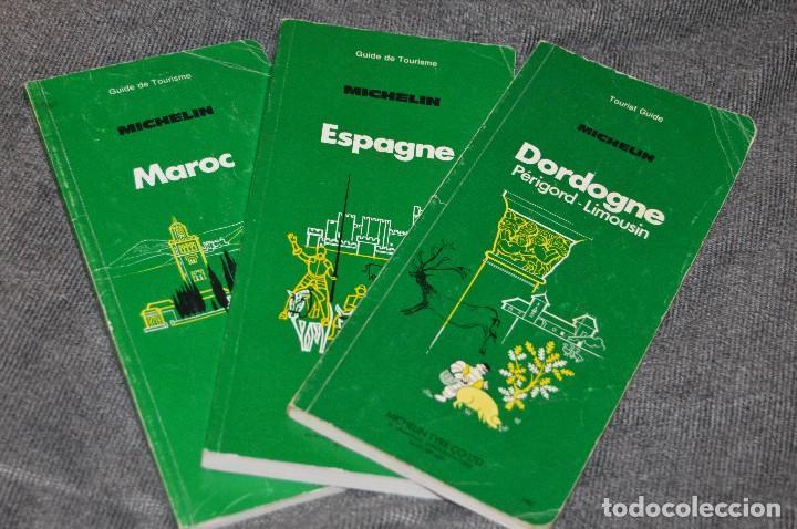 VINTAGE - LOTE DE 3 GUÍAS TURÍSTICAS MICHELIN - AÑOS 8 - ESPAÑA, MARRUECOS, DORDOÑA - HAZ OFERTA (Coleccionismo - Mapas - Mapas actuales (desde siglo XIX))