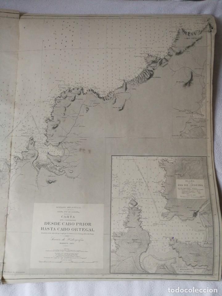 Mapas contemporáneos: CARTA NÁUTICA GALICIA QUE COMPRENDE DESDE CABO PRIOR HASTA CABO ORTEGAL (A CORUÑA), MADRID 1919. - Foto 2 - 113654271