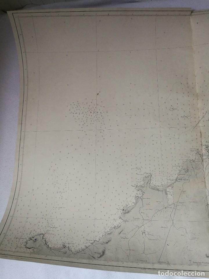 Mapas contemporáneos: CARTA NÁUTICA GALICIA QUE COMPRENDE DESDE CABO PRIOR HASTA CABO ORTEGAL (A CORUÑA), MADRID 1919. - Foto 3 - 113654271