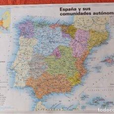 Mapas contemporáneos: ESPAÑA Y SUS AUTONOMIAS. Lote 114224559
