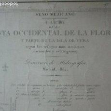 Mapas contemporáneos: CARTA NÁUTICA - COSTA OCCIDENTAL DE LA FLORIDA, PARTE ISLA DE CUBA - AÑO 1862. Lote 116094459