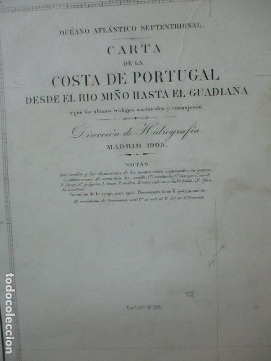Mapas contemporáneos: Carta Náutica - Costa de Galícia - Océano Atlántico - 1905 - Foto 2 - 116103079