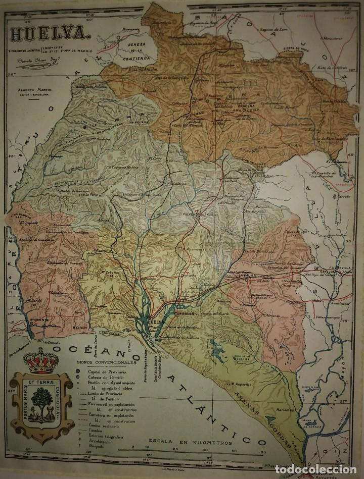 Mapas contemporáneos: HUELVA provincia - Mapa antiguo 1910 con Paspartú biselado 40cm x 32,5cm - Foto 3 - 116862159