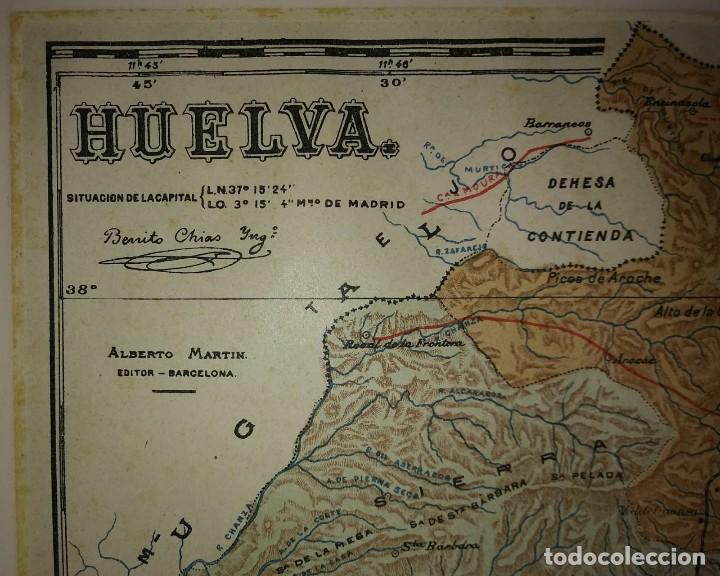Mapas contemporáneos: HUELVA provincia - Mapa antiguo 1910 con Paspartú biselado 40cm x 32,5cm - Foto 4 - 116862159