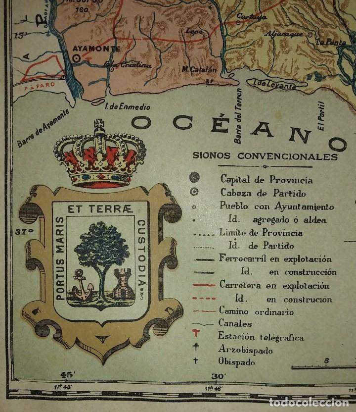 Mapas contemporáneos: HUELVA provincia - Mapa antiguo 1910 con Paspartú biselado 40cm x 32,5cm - Foto 5 - 116862159