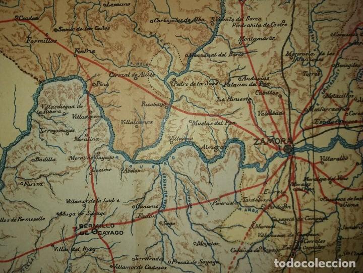 ZAMORA provincia - Mapa antiguo 1910 con Paspartú biselado 38,2cm x 31,5cm