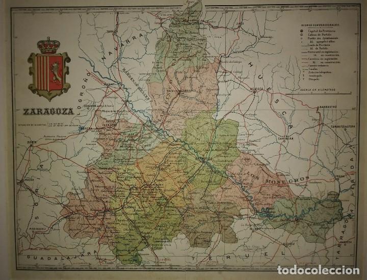 Mapas contemporáneos: ZARAGOZA provincia - Mapa antiguo 1910 con Paspartú biselado 42,5cm x 36cm - Foto 3 - 116862607
