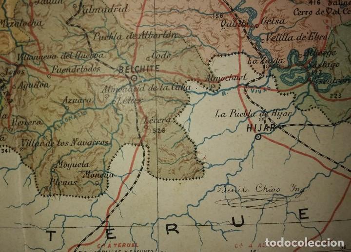 ZARAGOZA provincia - Mapa antiguo 1910 con Paspartú biselado 42,5cm x 36cm