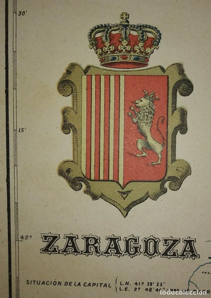 Mapas contemporáneos: ZARAGOZA provincia - Mapa antiguo 1910 con Paspartú biselado 42,5cm x 36cm - Foto 7 - 116862607