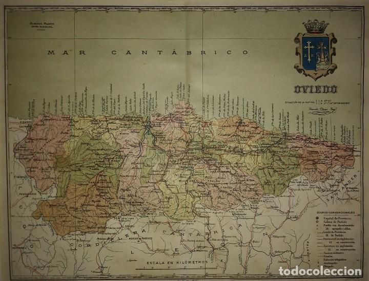 Mapas contemporáneos: OVIEDO provincia - Mapa antiguo 1910 con Paspartú biselado 42,5cm x 35cm - Foto 3 - 116862839