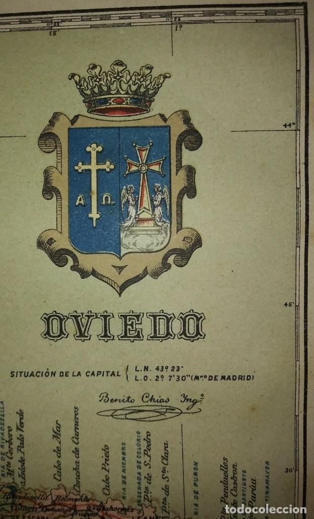 Mapas contemporáneos: OVIEDO provincia - Mapa antiguo 1910 con Paspartú biselado 42,5cm x 35cm - Foto 7 - 116862839