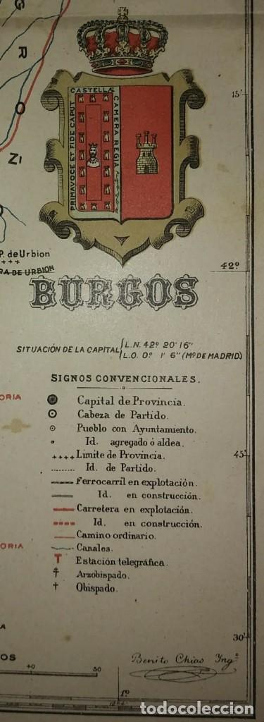BURGOS provincia - Mapa antiguo 1910 con Paspartú biselado 43cm x 35,4cm - 116863855