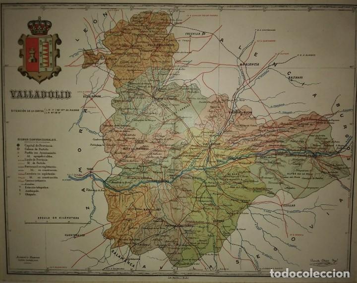 Mapas contemporáneos: VALLADOLID provincia - Mapa antiguo 1910 con Paspartú biselado 37,5 cm x 30,5 cm - Foto 3 - 116864143