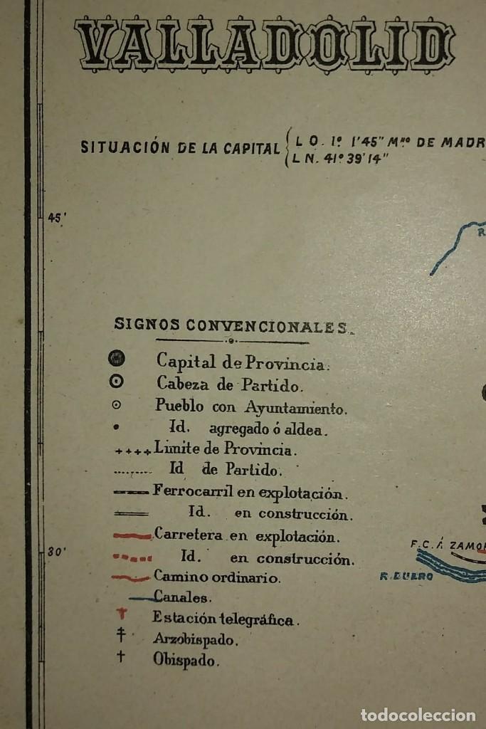 Mapas contemporáneos: VALLADOLID provincia - Mapa antiguo 1910 con Paspartú biselado 37,5 cm x 30,5 cm - Foto 5 - 116864143