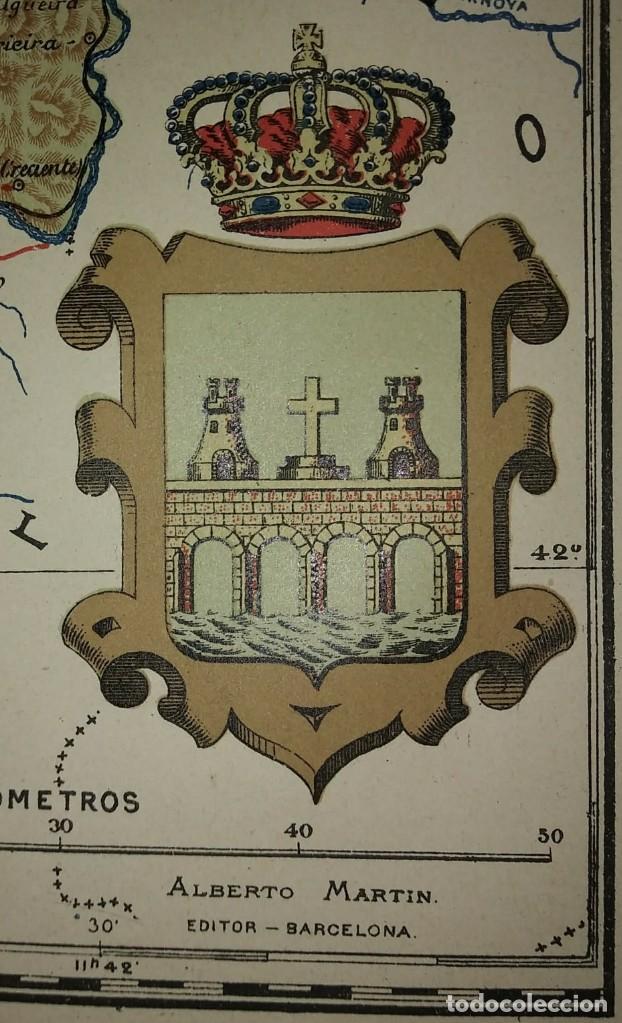PONTEVEDRA provincia - Mapa antiguo 1910 con Paspartú biselado 43 cm x 36 cm