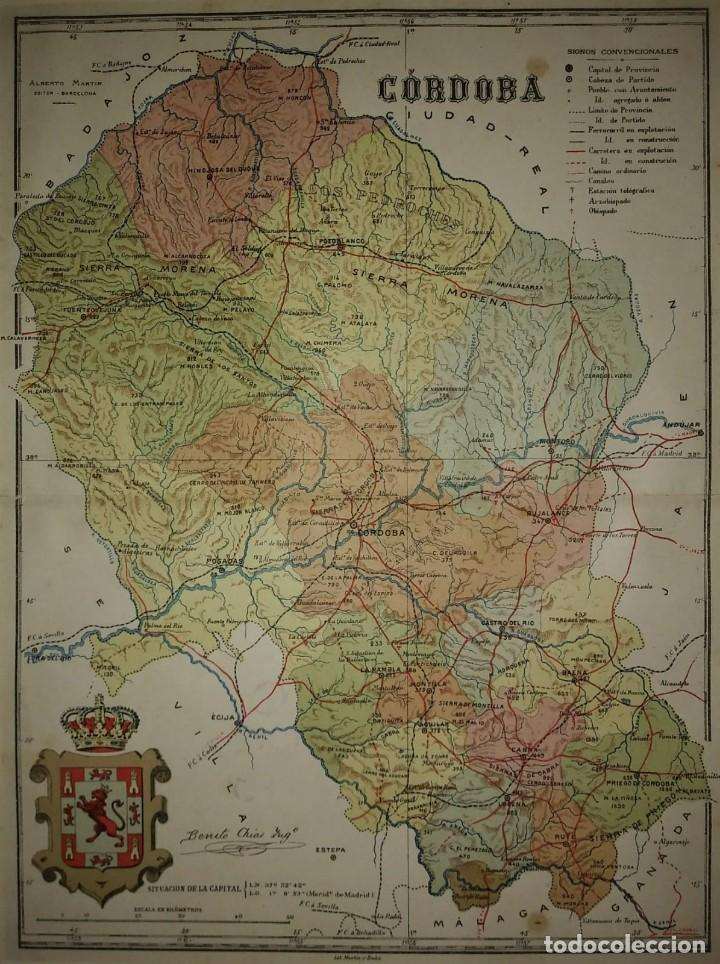 CÓRDOBA provincia - Mapa antiguo 1910 con Paspartú biselado 43 cm x 34,7 cm