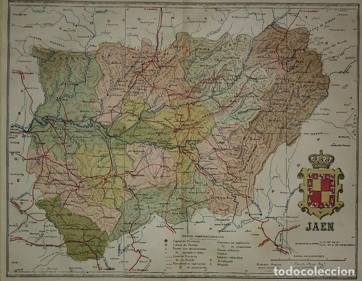 Mapas contemporáneos: JAÉN provincia - Mapa antiguo 1910 con Paspartú biselado 44 cm x 37,8 cm - Foto 4 - 116864607