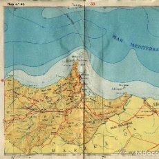 Mapas contemporáneos: AA MAPA- MARRUECOS ESPAÑOL--RIF- MELILLA-AÑOS 50-MUY RARO-20X30-PUBLICIDAD. Lote 117032643