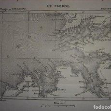 Mapas contemporáneos: DOCUMENTADO PLANO BAHÍA DEL FERROL, LA CORUÑA, GALICIA, ORIGINAL,PARIS, JOANNE, 1893.. Lote 117138379