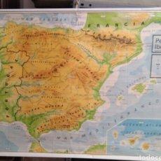 Mapas contemporáneos: MAPA ESCOLAR FÍSICO Y POLÍTICO ESPAÑA Y PORTUGAL. Lote 117618683